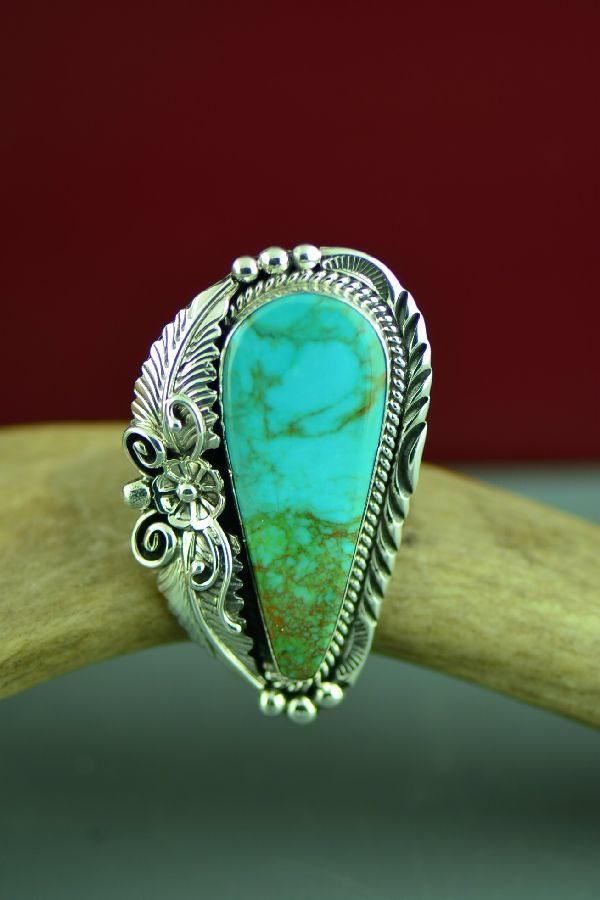 Navajo Sterling Silver Royston Turquoise Ring by Will Denetdale Size 7 1/2