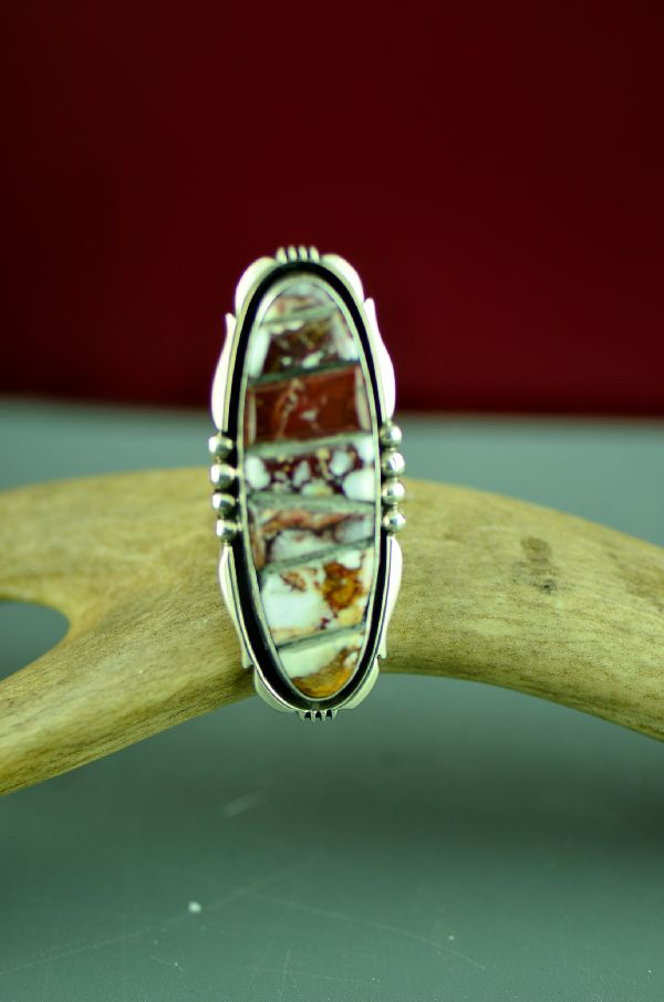 Navajo Sterling Silver Wild Horse Magnesite Ring by Will Denetdale Size 7 3/4