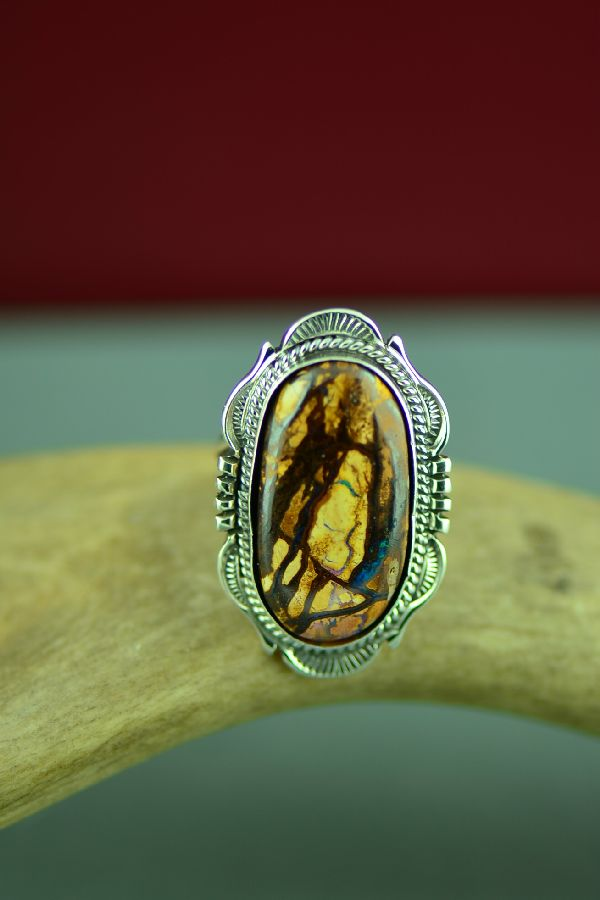 Navajo Sterling Silver Australian Boulder Opal Ring by Will Denetdale Size 6 1/2