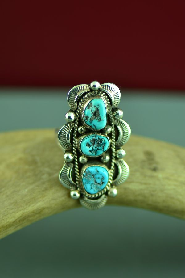 Navajo Sterling Silver Kingman Turquoise Ring by Will Denetdale Size 8