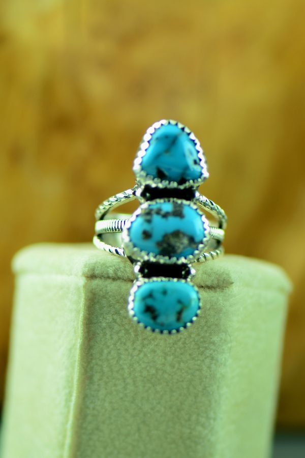 Navajo – Sterling Silver Three Stone Morenci Turquoise Ring by Will Denetdale Size 6 1/2