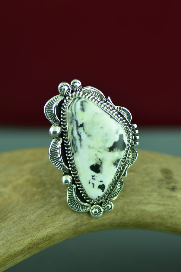 Navajo Sterling Silver White Buffalo Ring by Will Denetdale Size 6