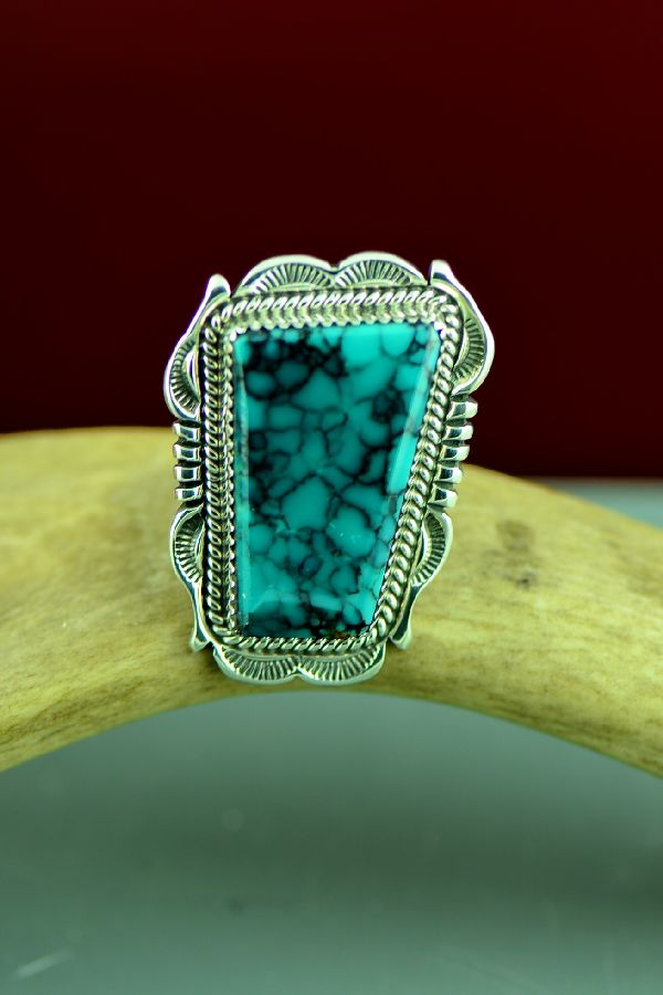 Navajo Sterling Silver Stone Kingman Turquoise Ring by Will Denetdale Size 7