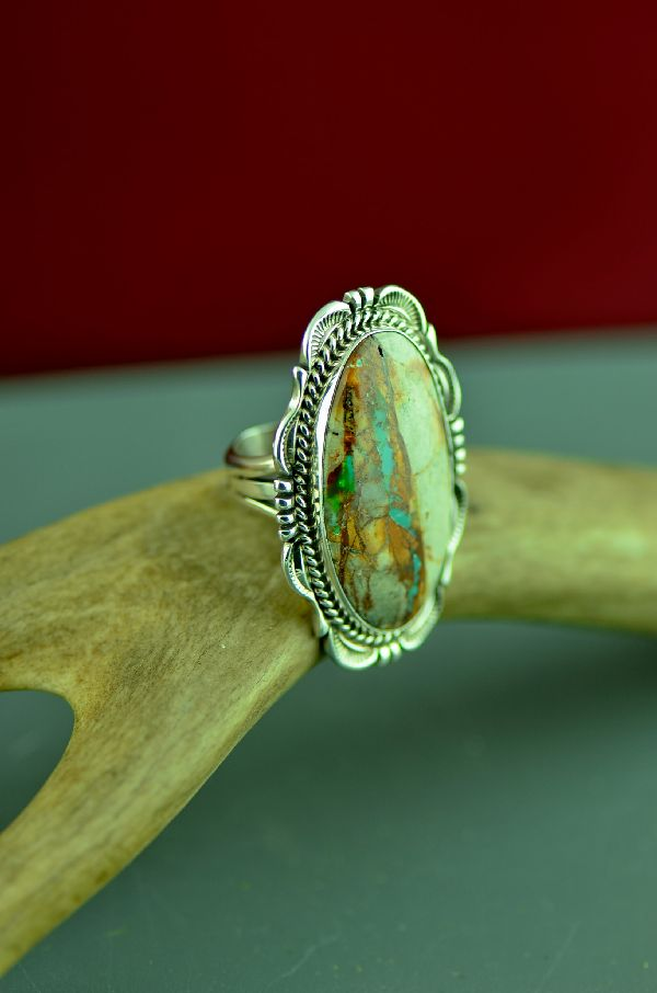 Navajo Sterling Silver Blue Ribbon Turquoise Ring by Will Denetdale Size 7