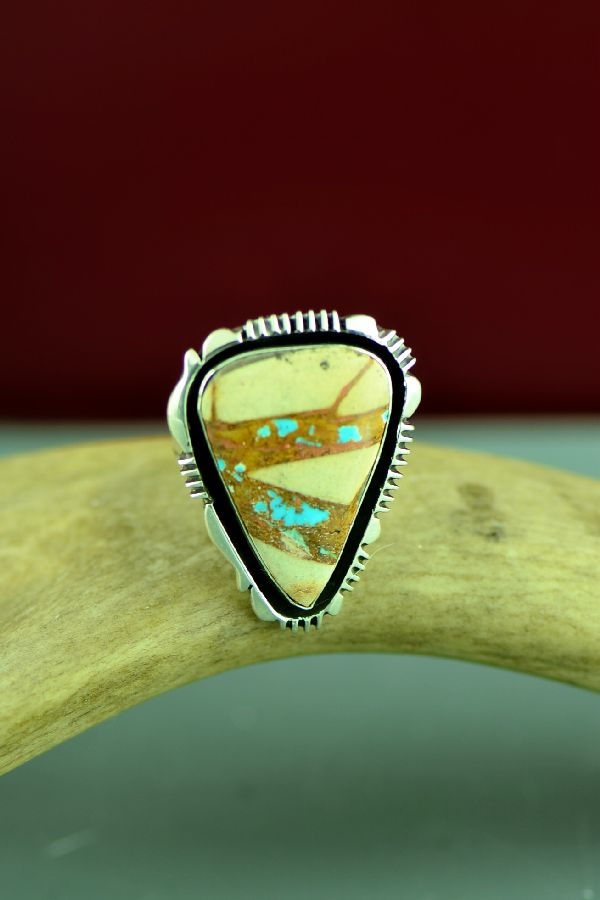 Blue Ribbon Turquoise Navajo Ring