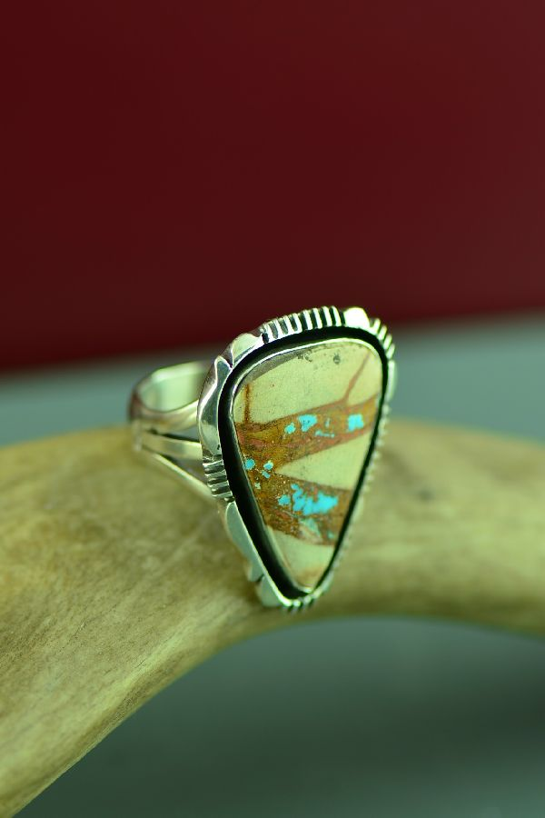 Navajo Sterling Silver Blue Ribbon Turquoise Ring by Will Denetdale Size 9