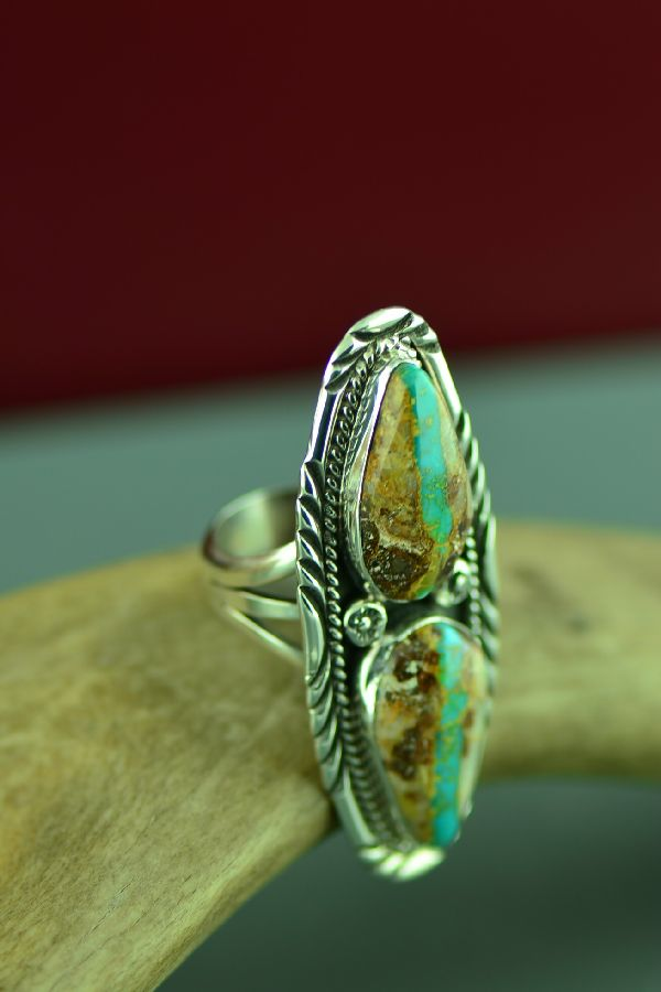 Navajo Sterling Silver 2 Stone Blue Ribbon Turquoise Ring by Will Denetdale Size 6