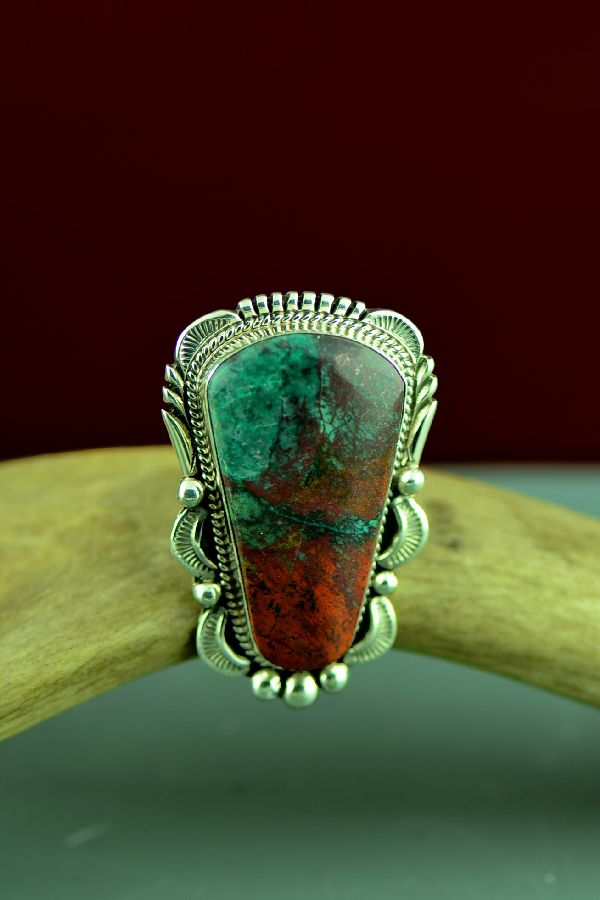 Navajo Sterling Silver Sonoran Sunrise Ring by Will Denetdale Size 9