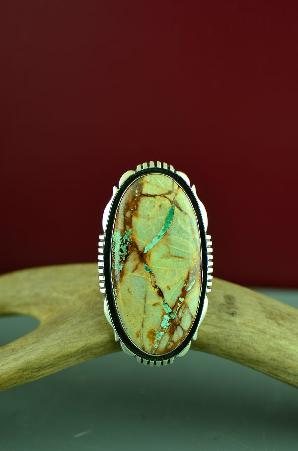Large Blue Ribbon Turquoise Navajo Ring