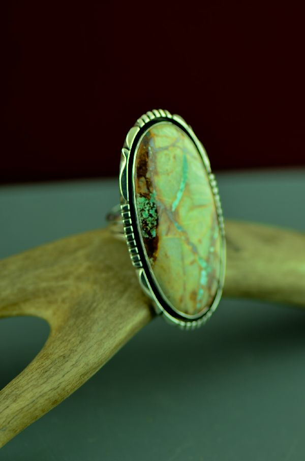 Navajo Sterling Silver Blue Ribbon Turquoise Ring by Will Denetdale Size 8