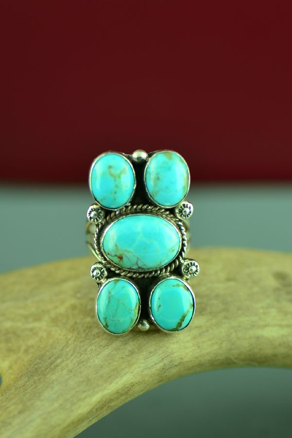 Navajo Sterling Silver Kingman Turquoise Ring by Will Denetdale Size 7