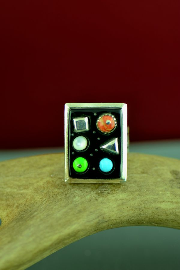 Navajo Sterling Silver Inlaid Gaspeite, Mother of Pearl, Turquoise and Coral Ring Size 7