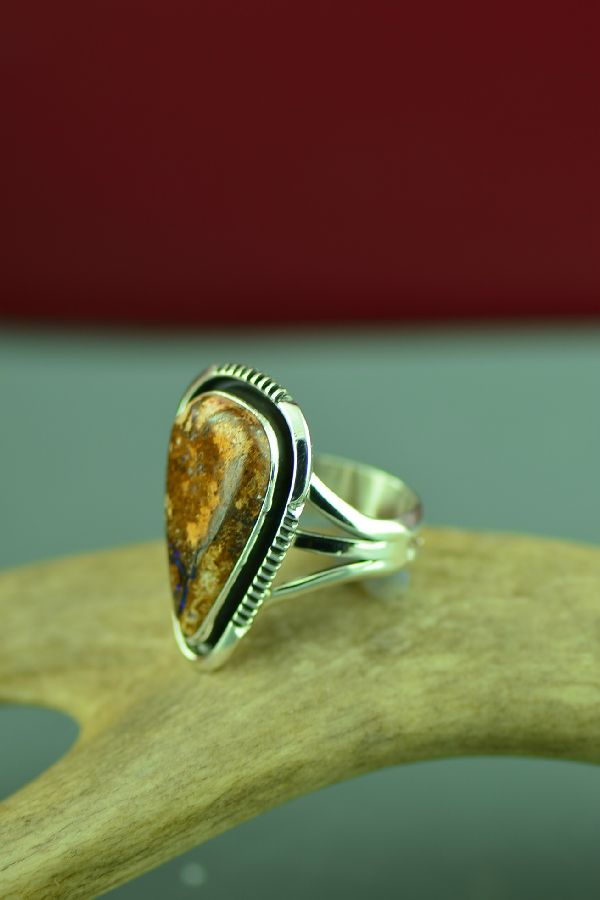 Navajo Sterling Silver Australian Boulder Opal Ring by Will Denetdale Size 9