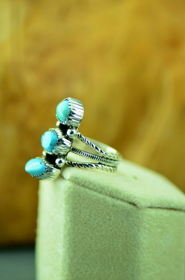 Navajo – Sterling Silver Three Stone Morenci Turquoise Ring by Will Denetdale Size 6