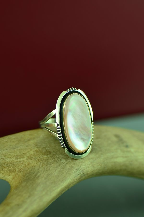 Navajo Sterling Silver Pink Mother of Pearl Ring by Will Denetdale Size 7 3/4