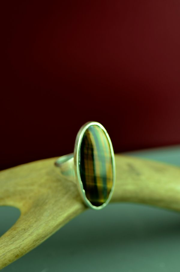 Cherokee Sterling Silver Tiger Eye Ring by Mel Kales Size 9