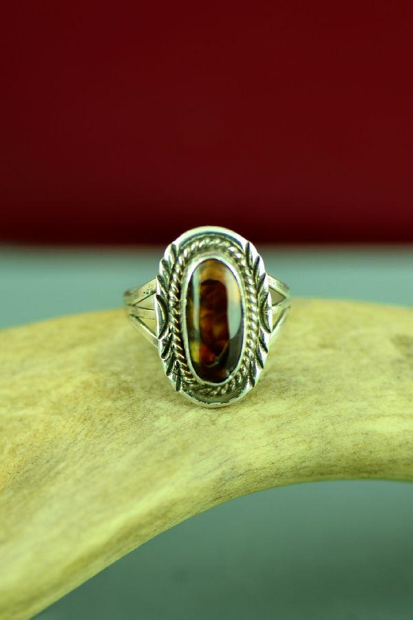 Navajo Sterling Silver Slaughter Mountain Fire Agate Ring Size 8