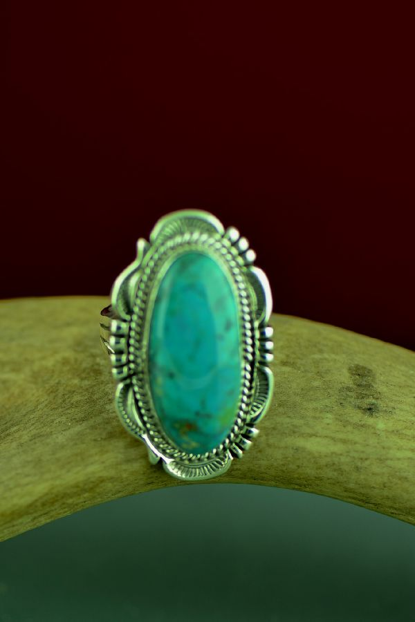 Navajo Sterling Silver Stone Kingman Turquoise Ring by Will Denetdale Size 8