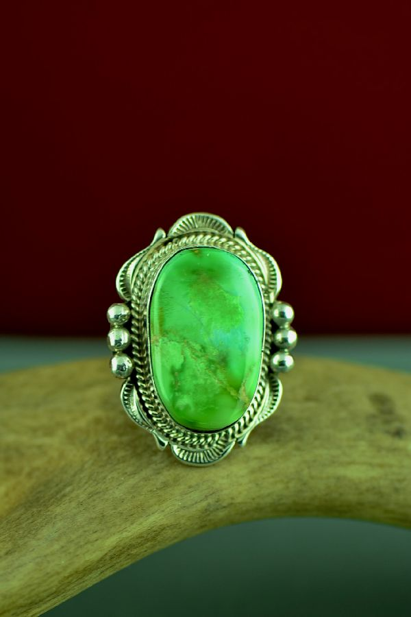 Navajo Sterling Silver Royston Turquoise Ring by Will Denetdale Size 8