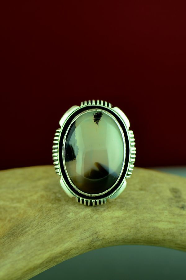 Navajo Sterling Silver Montana Agate Ring by Will Denetdale Size 6