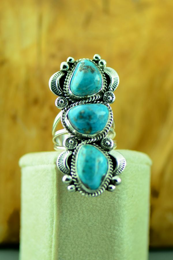 Navajo – Sterling Silver Three Stone Morenci Turquoise Ring by Will Denetdale Size 8