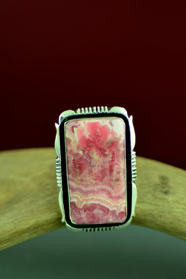 Navajo Sterling Silver Pink Rhodochrosite Ring by Will Denetdale Size 8