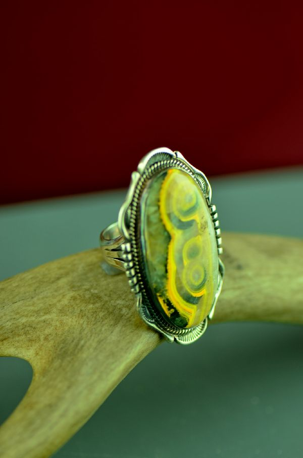 Navajo Sterling Silver Bumble Bee Jasper Ring by Will Denetdale Size 8