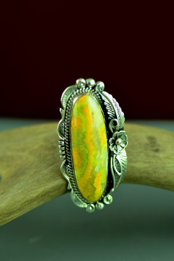 Navajo Sterling Silver Bumble Bee Jasper Ring by Will Denetdale Size 6