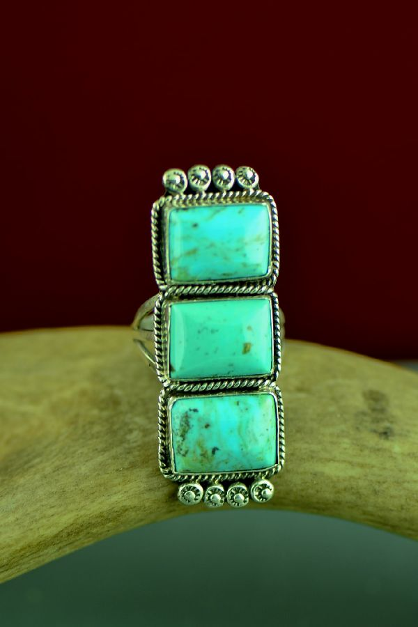 Navajo Sterling Silver Kingman Turquoise Ring by Will Denetdale Size 8 1/4