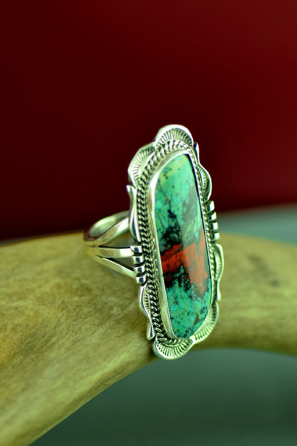 Will Denetdale Navajo Sterling Silver Sonoran Sunrise Ring Size 8
