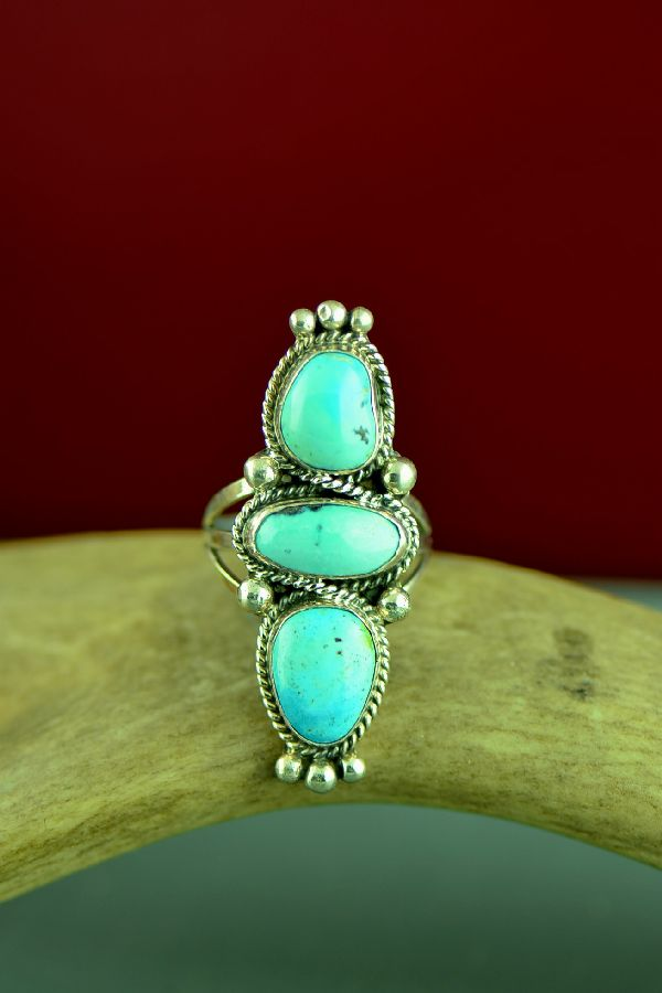Navajo Sterling Silver Three Stone Sleeping Beauty Turquoise Ring by Will Denetdale Size 8
