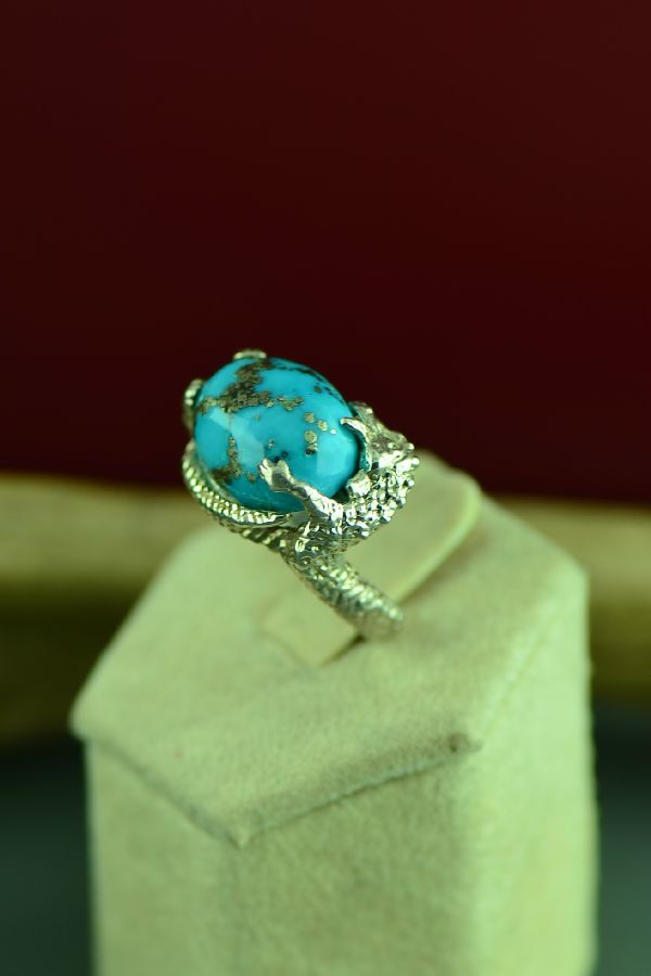 Native American Turquoise Dragon Ring