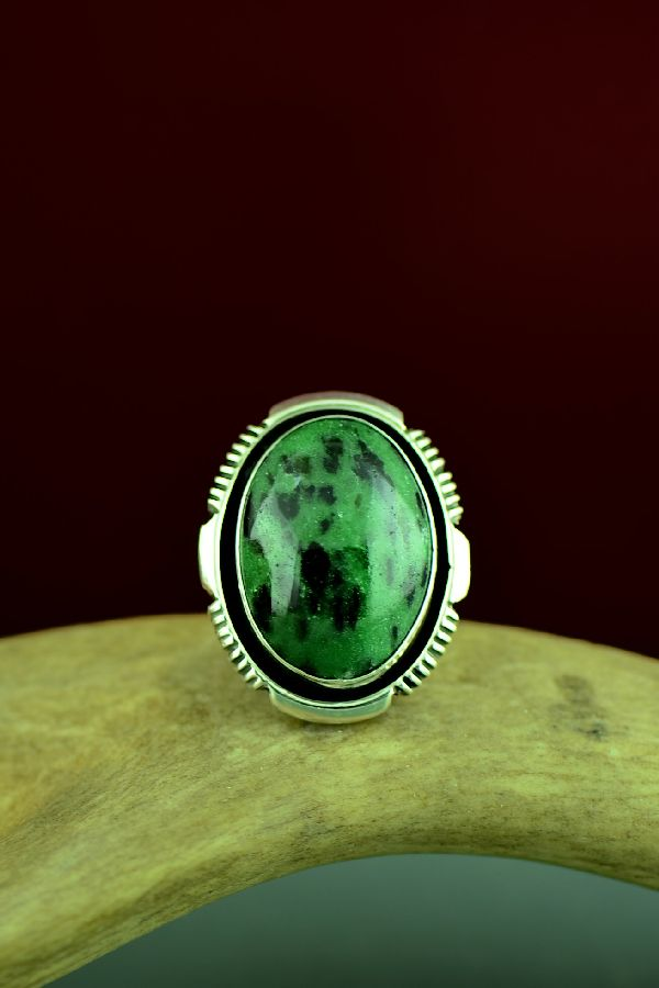 Navajo Sterling Silver Rhyolite Ring by Will Denetdale Size 7