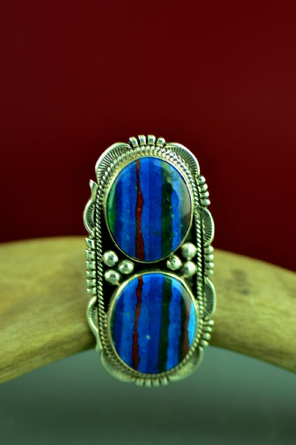 American Indian Rainbow Calsilica Ring by Will Denetdale Size 7