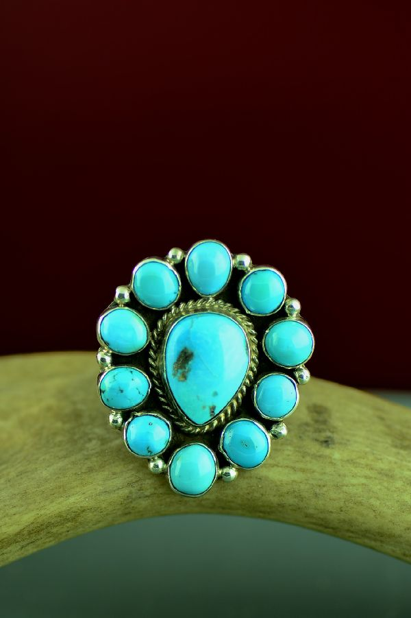 Navajo Sterling Silver 11 Stone Morenci Turquoise Cluster Ring by Will Denetdale Size 10 1/4