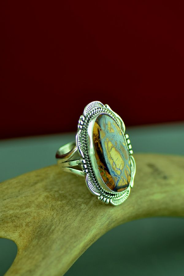 American Indian Australian Boulder Opal Ring by Will Denetdale Size 7