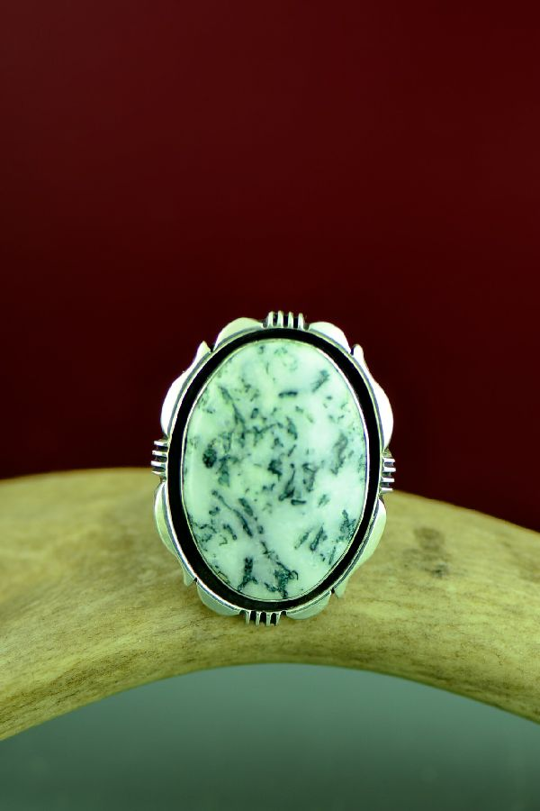 Navajo Sterling Silver Moss Agate Ring by Will Denetdale Size 9