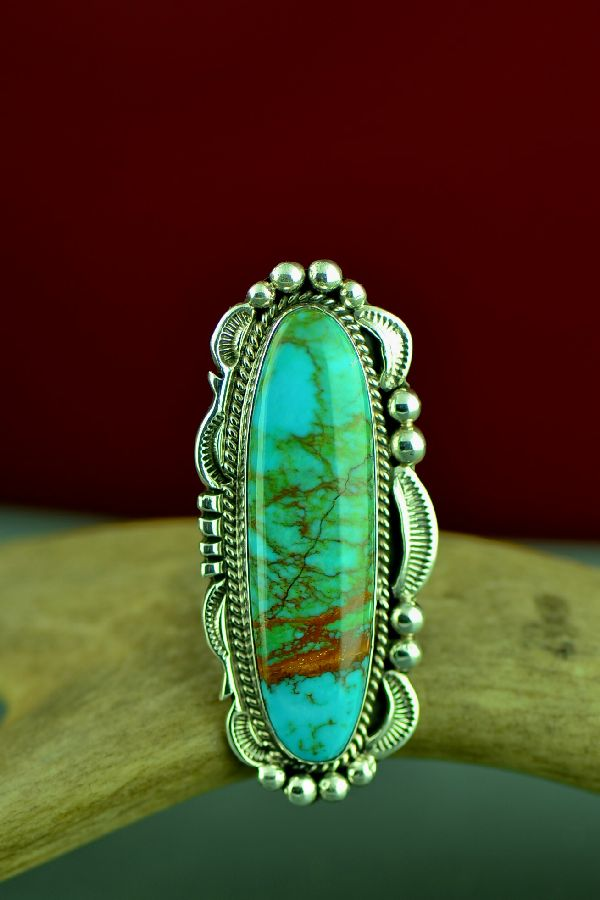 Native American Royston Turquoise Ring by Will Denetdale Size 7