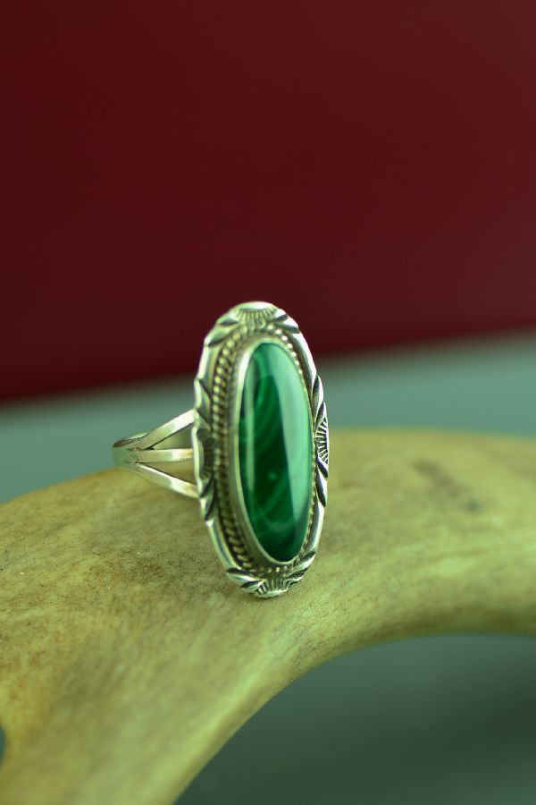 American Indian Malachite Ring by Will Denetdale Size 7 3/4