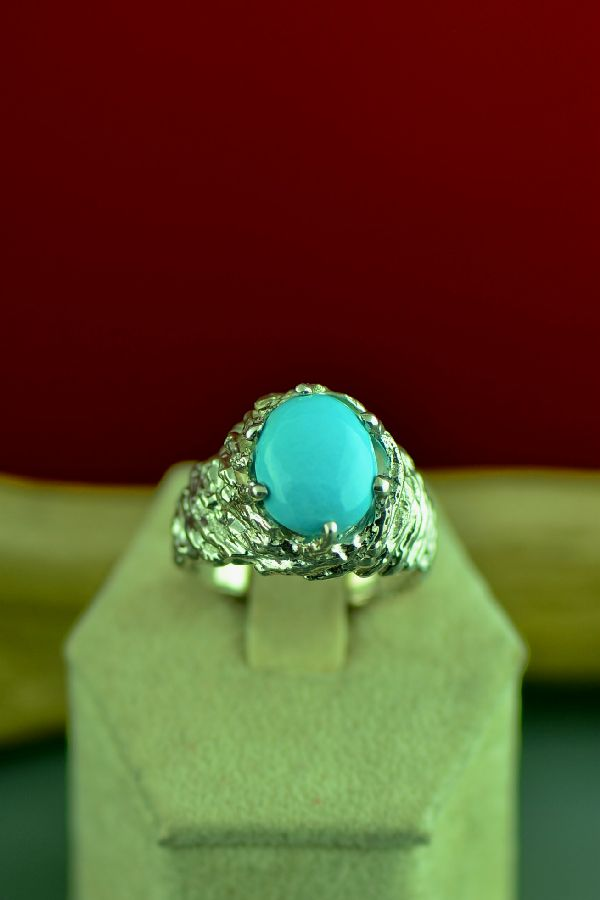Cherokee Sterling Silver High Grade Sleeping Beauty Turquoise Ring by Mel Kales Size 9 1/2