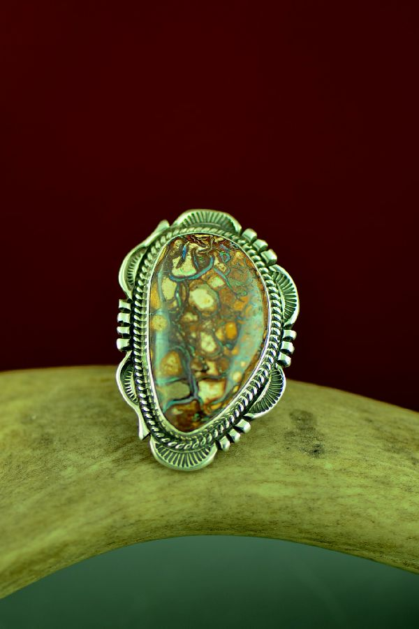 American Indian Australian Boulder Opal Ring by Will Denetdale Size 8