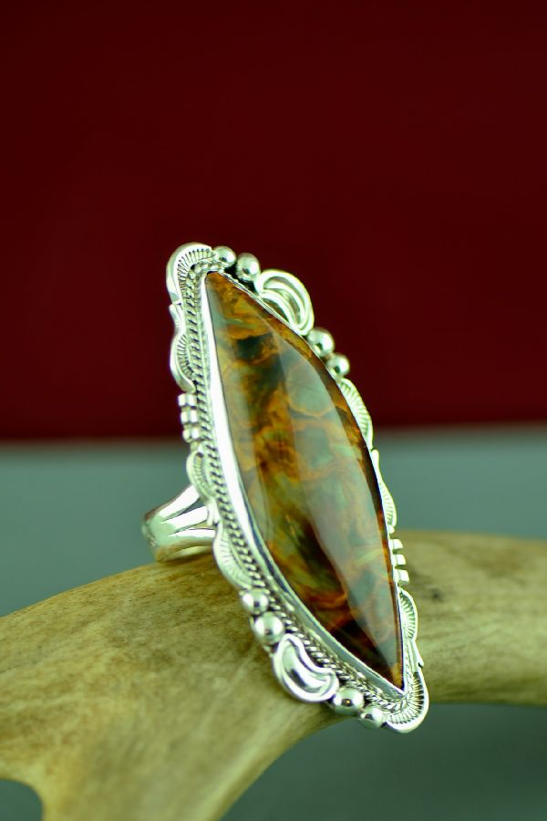 Navajo African Pietersite Sterling Silver Ring by Will Denetdale Size 10 1/2