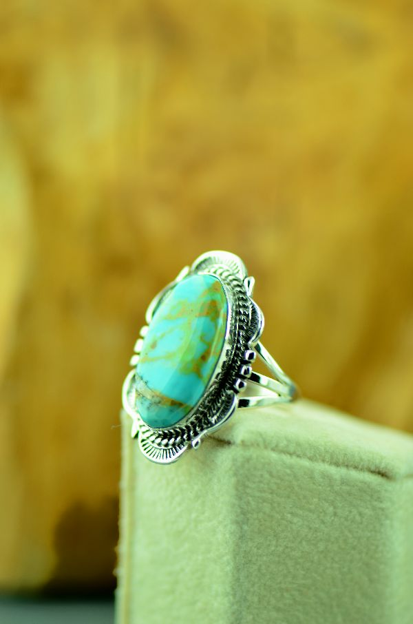 Navajo – Sterling Silver Royston Turquoise Ring by Will Denetdale Size 6