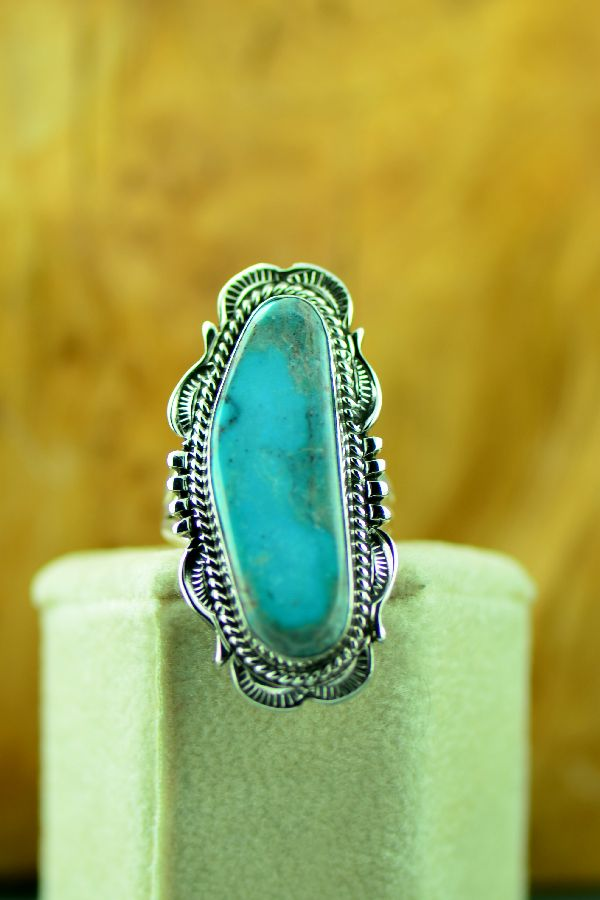 Navajo – Sterling Silver Fox Turquoise Ring by Will Denetdale Size 7