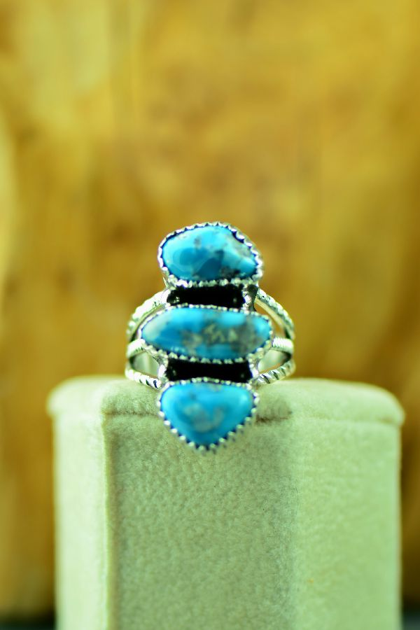 Navajo – Sterling Silver Three Stone Morenci Turquoise Ring by Will Denetdale Size 6 3/4