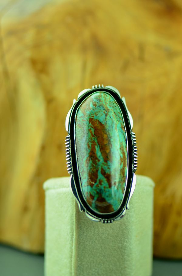 Navajo – Sterling Silver Ajax Turquoise Ring by Will Denetdale Size 8