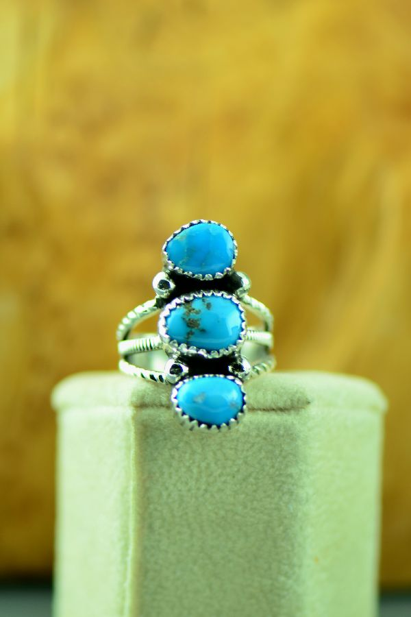 Navajo – Sterling Silver Three Stone Morenci Turquoise Ring by Will Denetdale Size 7 1/4