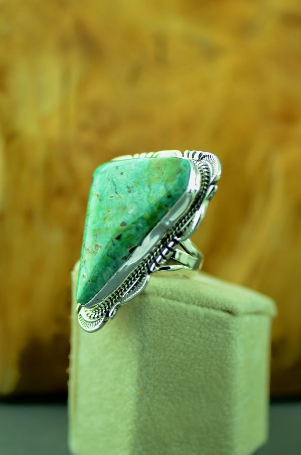Navajo – Sterling Silver Fox Turquoise Ring by Will Denetdale Size 5 3/4