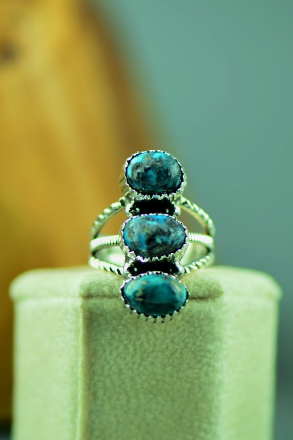 Navajo – Sterling Silver Three Stone Bisbee Turquoise Ring by Will Denetdale Size 6 1/2