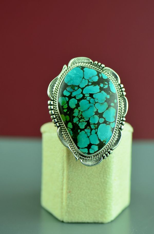 Navajo – Sterling Silver Kingman Turquoise Ring by Will Denetdale Size 8
